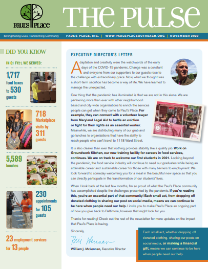 Paul's Place October 2020 newsletter page 1